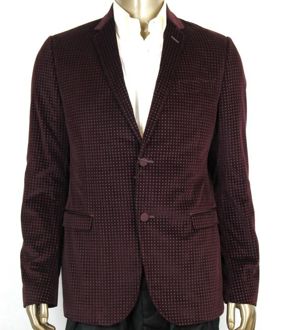 Item - Wine Printed Stretch Square Evening Jacket 2 Buttons 50r/Us 40r 322626 6250 Groomsman Gift