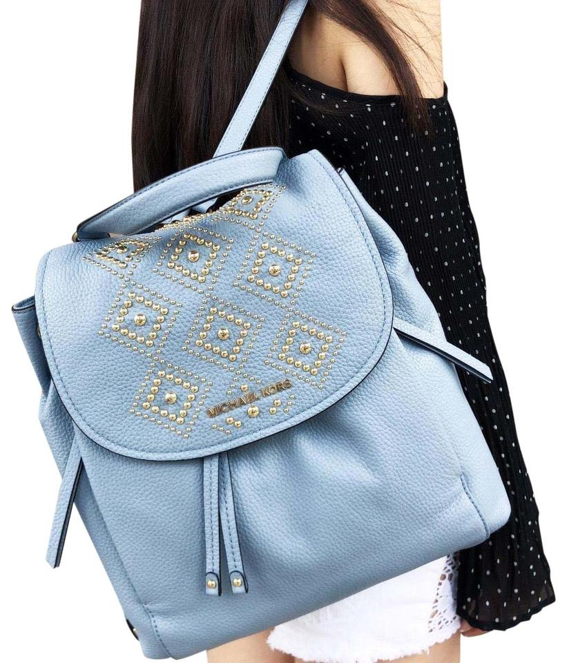 45879acc7c3c Michael Kors Large Gold Studded Drawstring Flap Pale Blue Leather Backpack