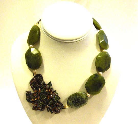 """Heidi Daus Authentic Heidi Daus Simulated Jade """"Rock"""" Crystal Drop Necklace with 4 Inch Extender"""