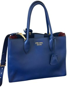 Prada New Crossbody Calfskin Classic Tote in Blue & Red