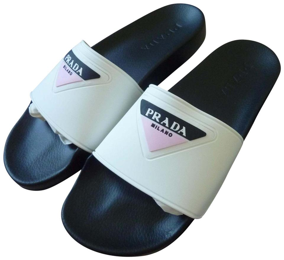 c770e12bf4e Prada White Ladies Triangle Logo Rubber Pool Sandals Size US 7 ...