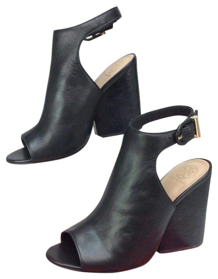 41fd705fad944 Tory Burch Black Grove 100mm Open Toe Leather Bootie Sandals Size US ...
