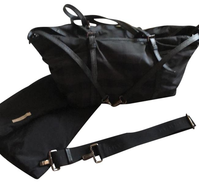 Item - Black Leather and Canvas Diaper Bag