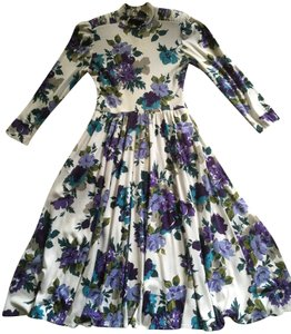 White/multicolor floral Maxi Dress by Jessica Howard Polyester/Cotton