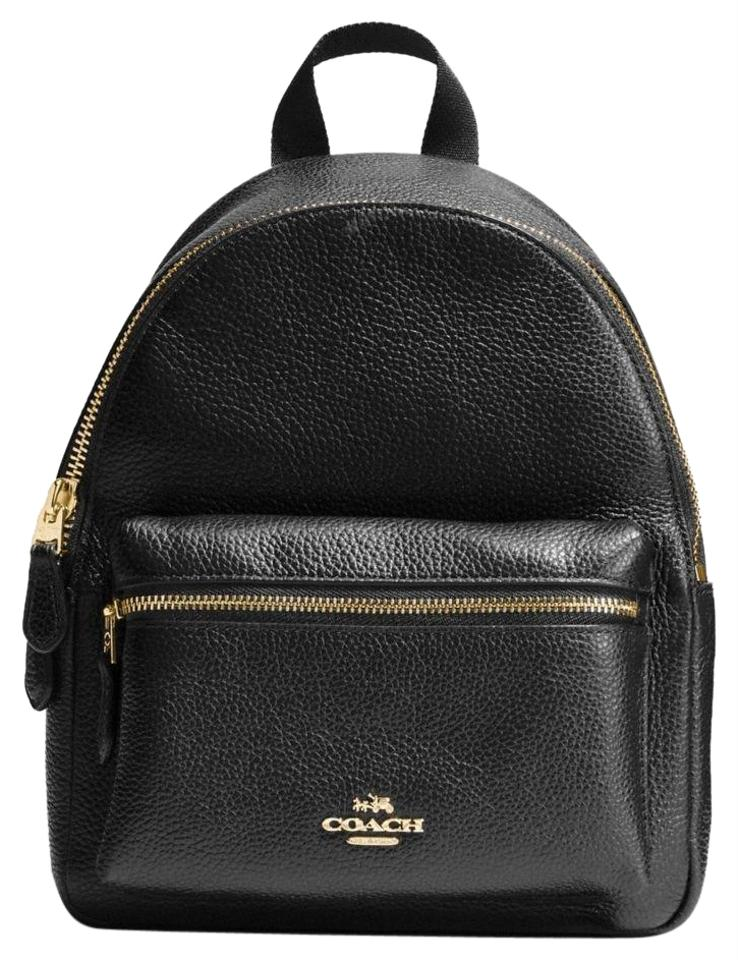 9266ce8e4866d Coach Mini Charlie In Pebble Black Leather Backpack - Tradesy