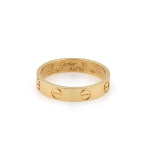 Cartier Mini Love 18k Yellow Gold 3.5mm Band Ring Size 50-US 5.25 Cert.