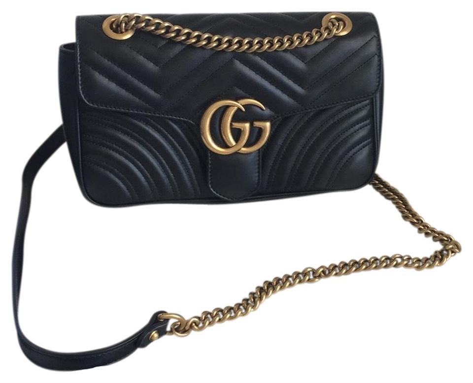 c0088639b31 Gucci Marmont Small Gg Matelasse Black Leather Shoulder Bag - Tradesy