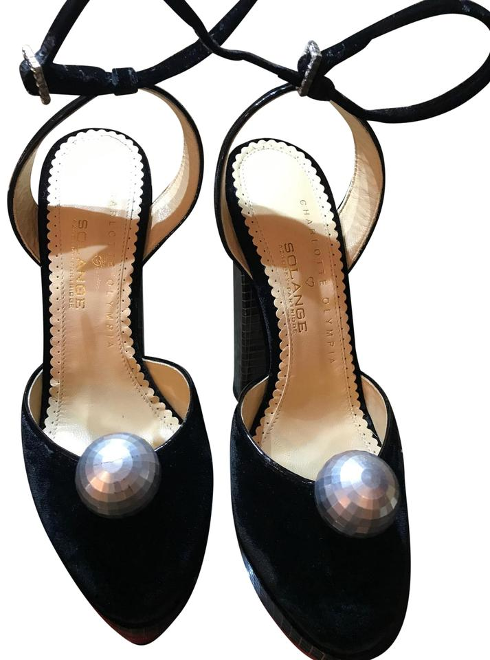 1569d090ece Charlotte Olympia Black Velvet with Large Pearl and Silver Heels Formal  Image 0 ...