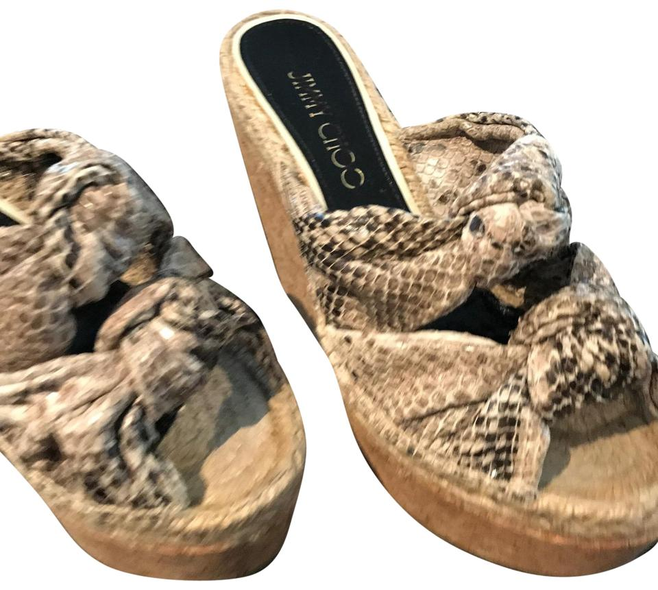 Jimmy Choo Grey and Beige Sandals Snake Skin Double Knots Sandals Beige 1f0bc9