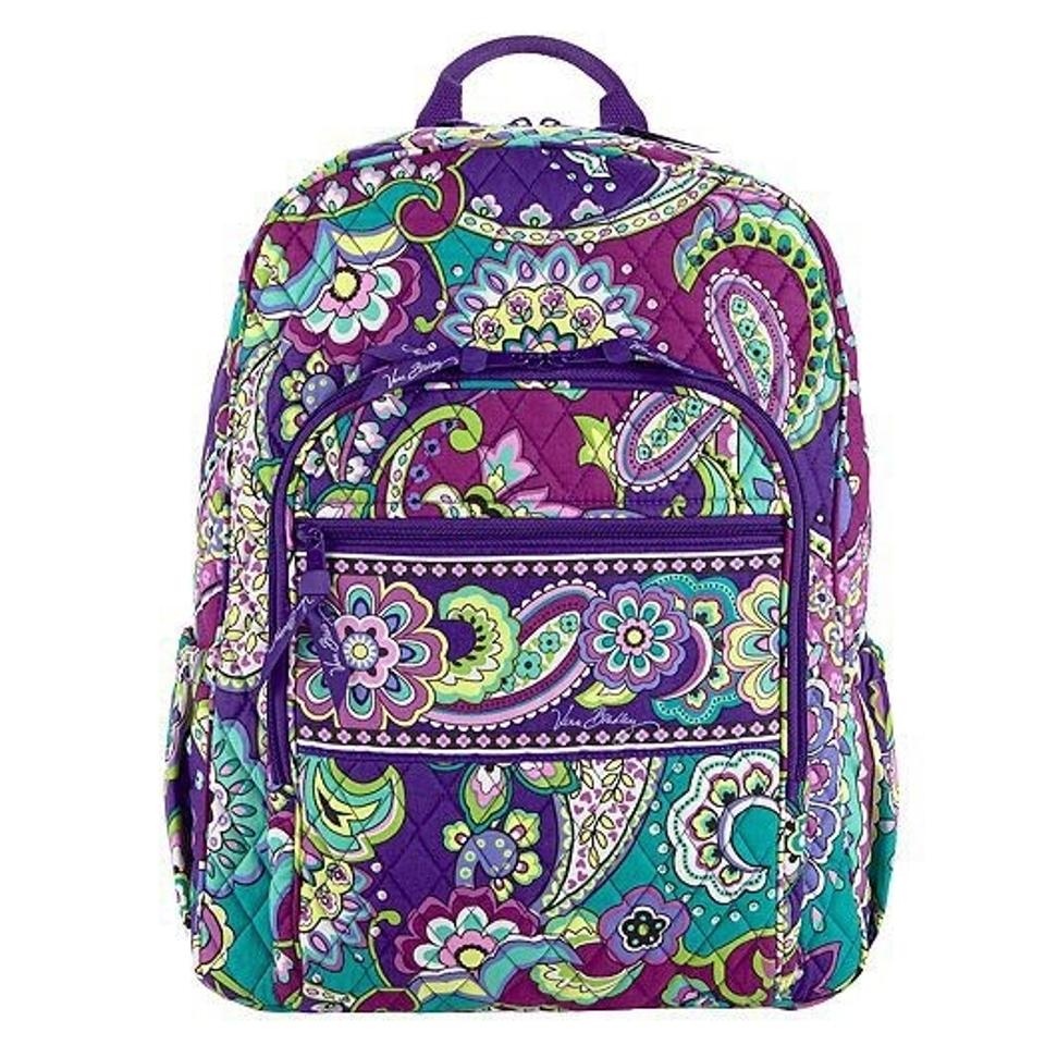 Vera Bradley Campus Purple Cotton Backpack
