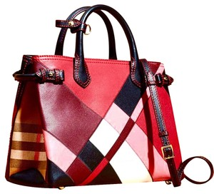 Burberry Tote in red, pink, black, white, camel