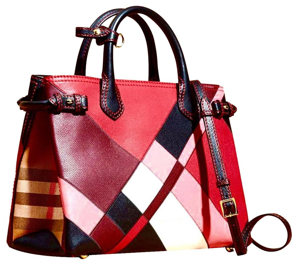 241b0f557123 Burberry Patchwork Color Banner Medium Red Pink Black White Camel Leather  Tote