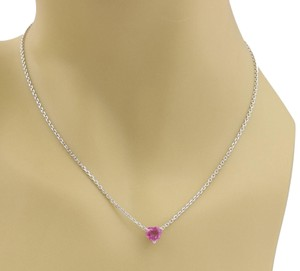 Cartier 1.30ct Pink Sapphire 18k White Gold Heart Pendant Necklace w/Paper