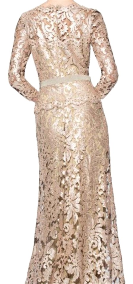 Tadashi Shoji Gold Paillette Embroidered Lace 3/4 Sleeve How Long ...
