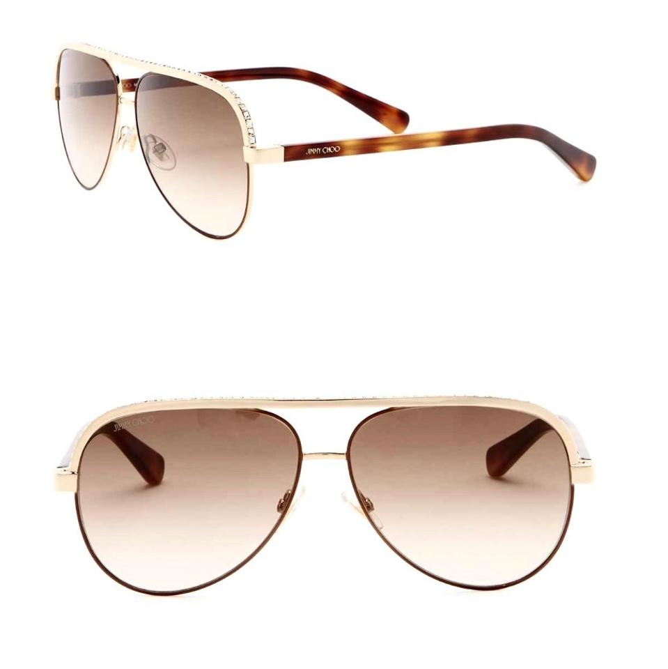 af18e7a46d9 Jimmy Choo Gold Brown Lina Crystal Encrusted Aviator Sunglasses ...