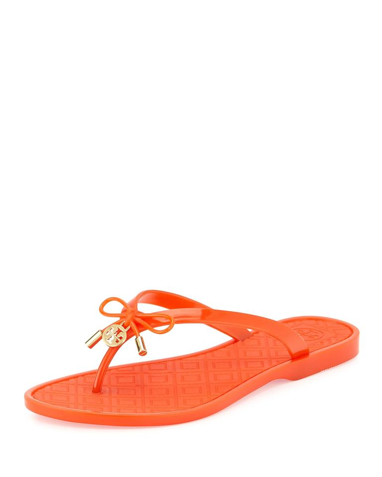 612b5c6cac7cfd Tory Burch Orange Jelly Bow Logo-charm Thong Sandals Size US 8 ...