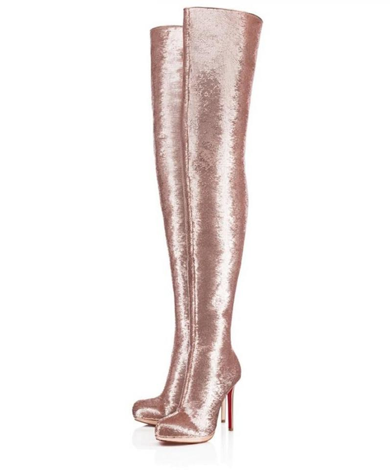 79071e4cc289 Christian Louboutin Nude Moulin Noir 120 Rose Gold Pink Sequin Over Knee  Thigh High Heel Boots Booties