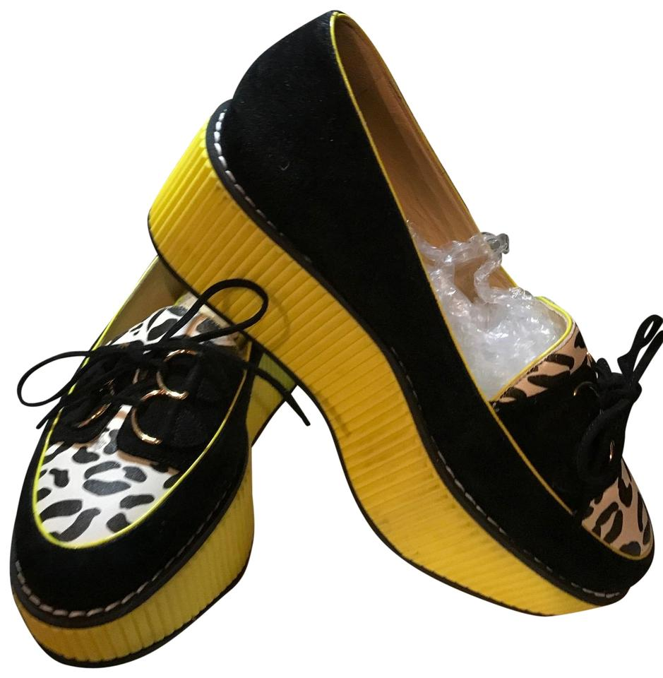 Charlotte Olympia Black and White Shoes and Yellow Wedge Formal Shoes White c5dca0