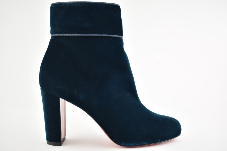7eccd47aadc Christian Louboutin Blue Moulamax 85 Dark Petrol Velvet Zipper Block Heel  Ankle Boots/Booties Size EU 36.5 (Approx. US 6.5) Regular (M, B)