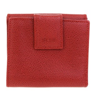 Céline CELINE Logos Bifold Wallet Purse Leather Red Made In Italy