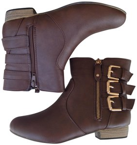 Bucco Gold Zipper Faux Leather Brown Boots