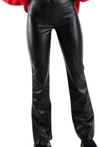 Moda International Faux Leather Street Smart Vintage Straight Pants Black