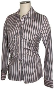 Thomas Pink Wear To Work Business Blouse Ruched Striped Button Down Shirt Pink