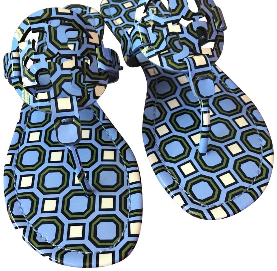 c237dad9b6b66b Tory Burch Light Chambray Octagon Square Miller Patent Sandals Size ...