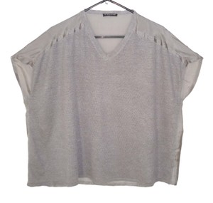 Eileen Fisher Boxy Linen Silk Silver Top