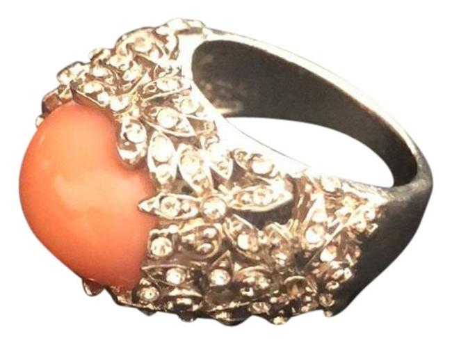 Item - Coral/Orange White Gold/Coral/Cluster Crystals Ring
