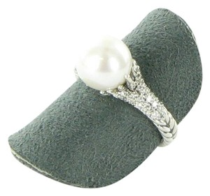 David Yurman Starburst Ring 10mm Pearl Diamond 0.30cts Sterling Silver Size 7