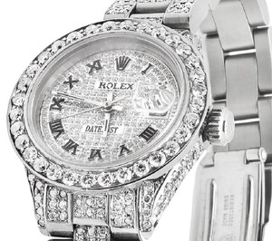 Rolex Ladies Datejust Oyster 26MM Full Iced Out Roman Dial Diamond 9.75 Ct