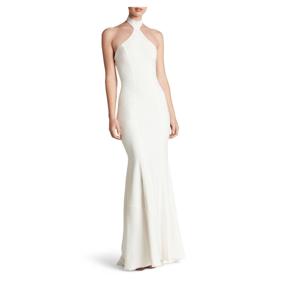 93ce7560cdca Dress the Population Off White Taylor Crepe Halter Mermaid Gown Formal Dress