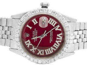 Rolex Mens Datejust 36MM Jubilee Red Dial Prong Set Diamond 3.5 Ct