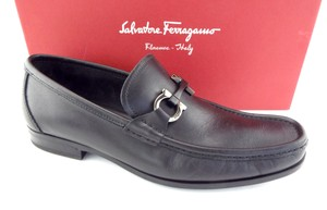 Salvatore Ferragamo Black Gancini Logo Horse Bit Slip-on Loafers 2e Shoes