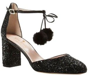 Kate Spade Glitter Chunky Pump Evening Black Formal