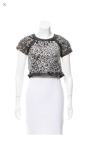 Item - Embellished Crop Black/Silver Top