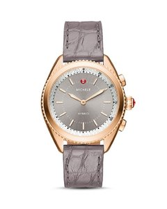 Michele NWT HYBRID SMARTWATCH, Alligator Strap, Rose Gold Plated, MWWT32A00007