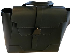 Senreve Italian Leather Convertible Satchel in Forest Green