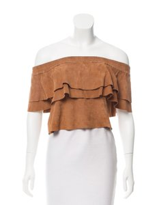 Desginers Remix Leather Suede Top Brown