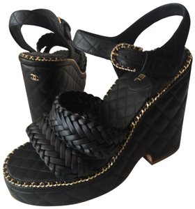 Chanel Cc Chains Weave Sandals Quilted Black Wedges