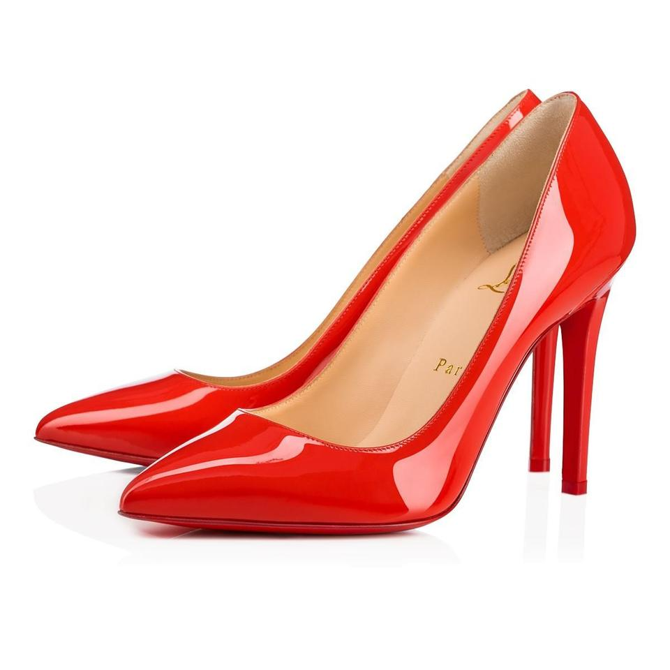 Christian Patent Classic 100 Stiletto Pumps Louboutin Red Leather Pigalle Heel Orange Bisou rxqHr4O6w1