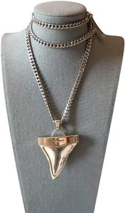 Givenchy Large Two Tone Gold Silver Shark Tooth Long Necklace