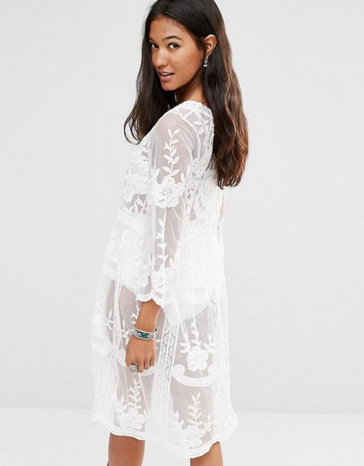 8f97946db816 ASOS White Unique Boohoo Mesh Floral Embroidered Lace 3/4 Sleeve ...