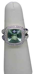 David Yurman DAVID YURMAN Albion Ring with 11mm x 11 mm Prasiolite stone and Diamon