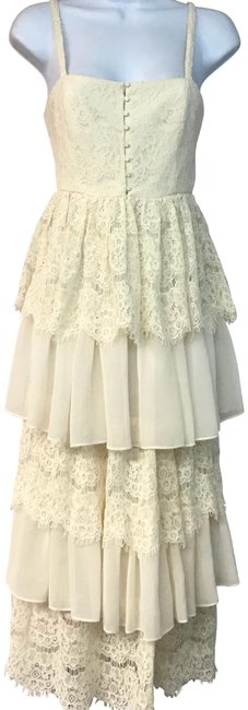 Item - Beige Lace Tiered Cotton Blend Long Night Out Dress Size 2 (XS)
