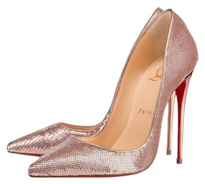 Christian Louboutin Nude Pink Gold Sirene Sequin Pump Pumps