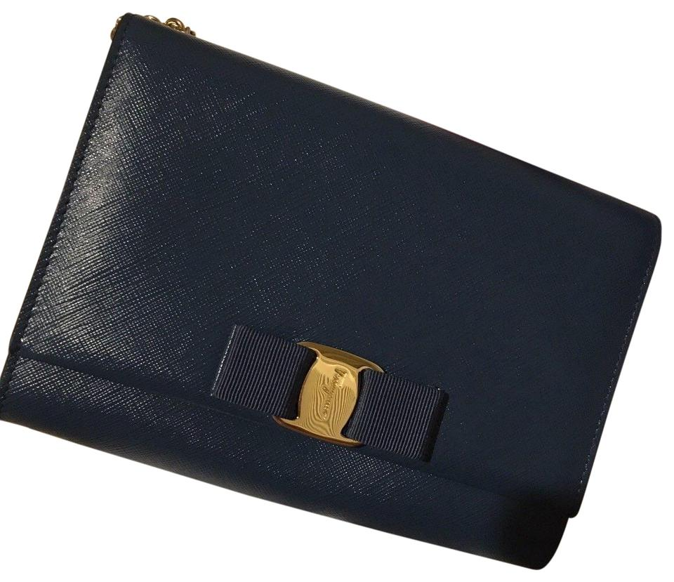 Salvatore Ferragamo  miss Vara  Bow Mini Pacific Blue Navy Leather Cross  Body Bag 62fb4319569e7