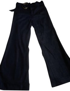 7 For All Mankind Denim Belted High Waisted Trouser/Wide Leg Jeans-Dark Rinse