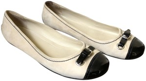 The Original Car Shoe Suede Patent Ballet Beige Flats